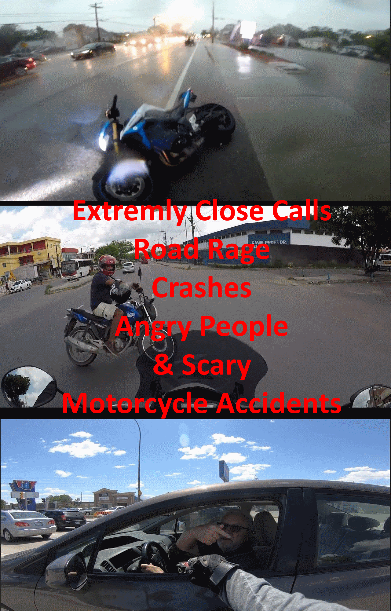 Extremely Close Calls  Road Rage  Crashes  Angry People   Scary Motorcycle Accidents